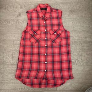 Topshop Red Plaid Flannel Button Up Tank Top